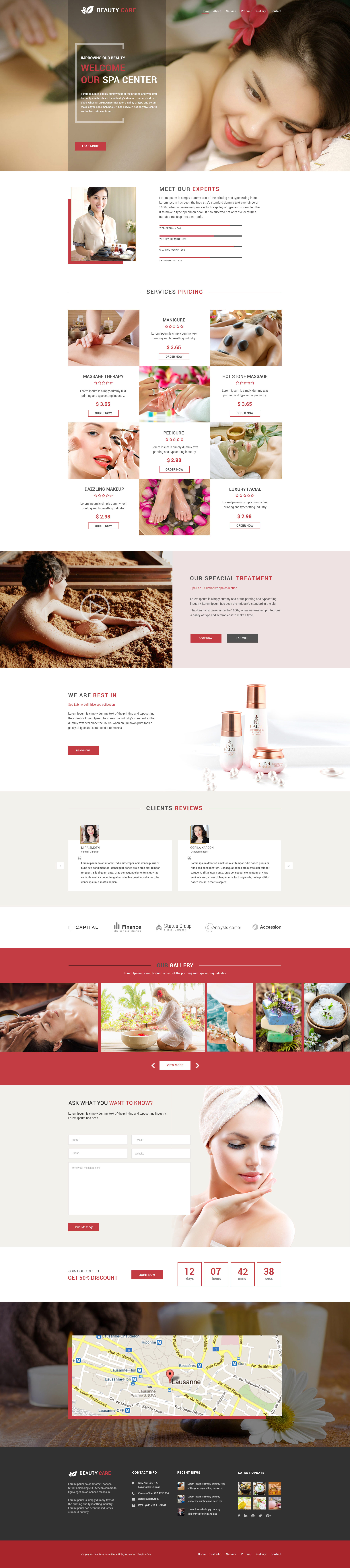 Spa care spa salon beauty psd template by graphicscare for Colors home page