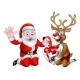 Santa and Reindeer with Christmas Gift