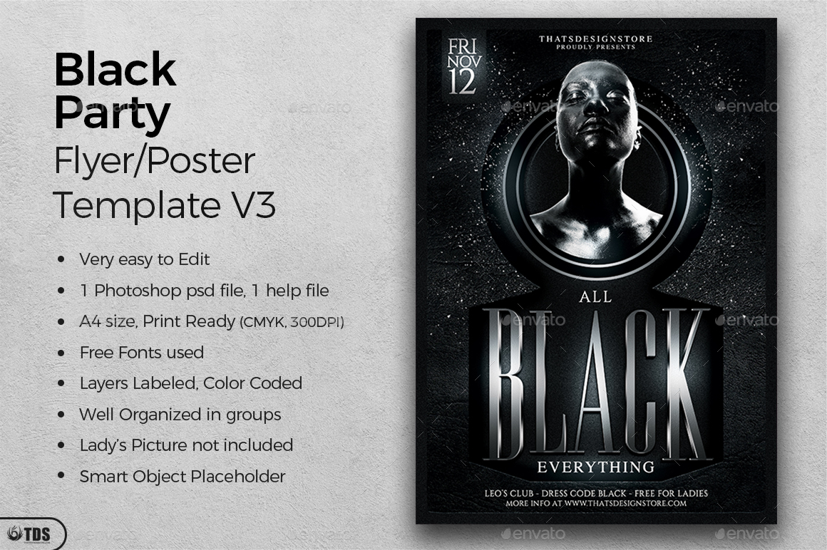 Black Party Flyer Template V3 by lou606 – Black Flyer Template