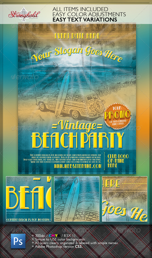 Vintage Beach Party Flyer Template - Events Flyers