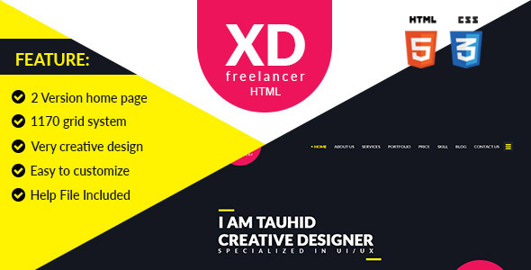 Download XD Freelancer- Personal/Agency Portfolio One Page HTML Template