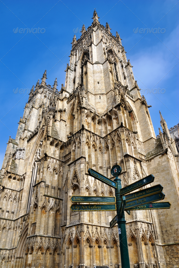 Signpost And Tower York Minster - Stock Photo - Images