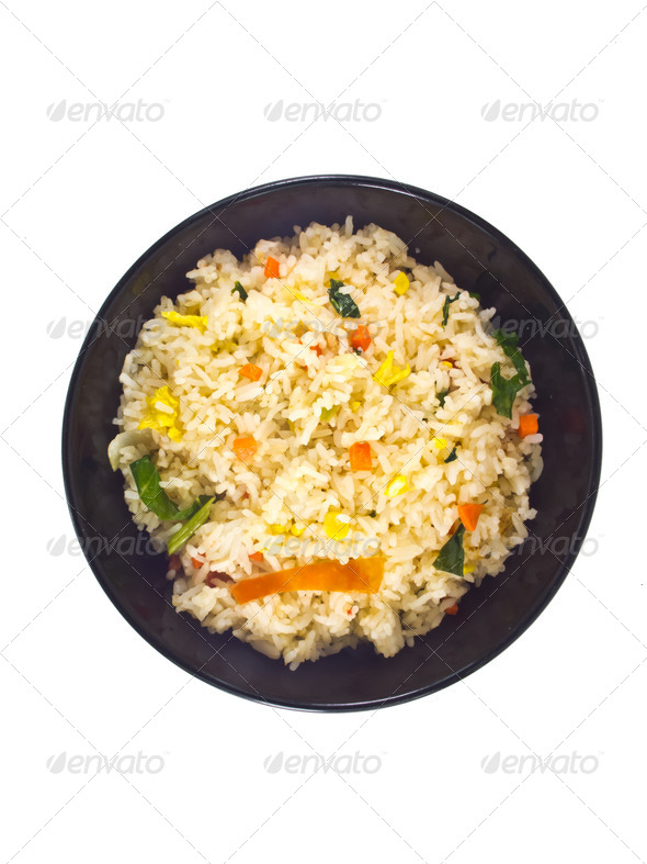 Fried rice in Bowl Top view - Stock Photo - Images