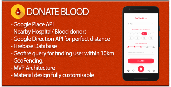 Blood Donate (Material Design + Firebase DB+Auth+Social Sharing+Place API)