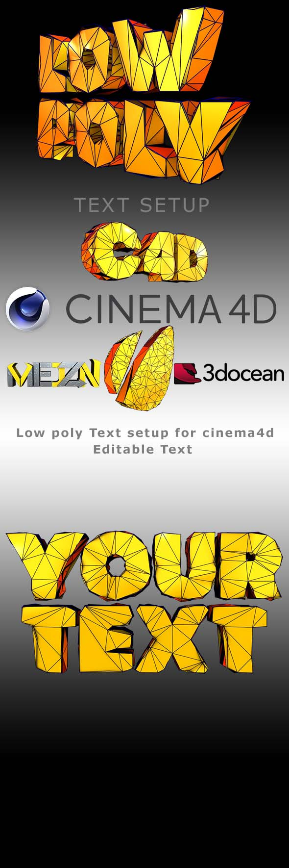 3DOcean Low Poly Text 19957798