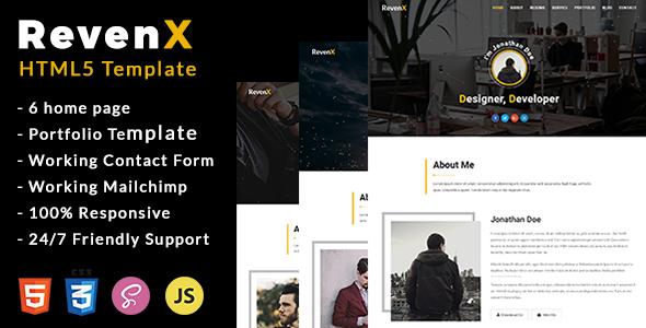 RevenX - Personal Portfolio Template
