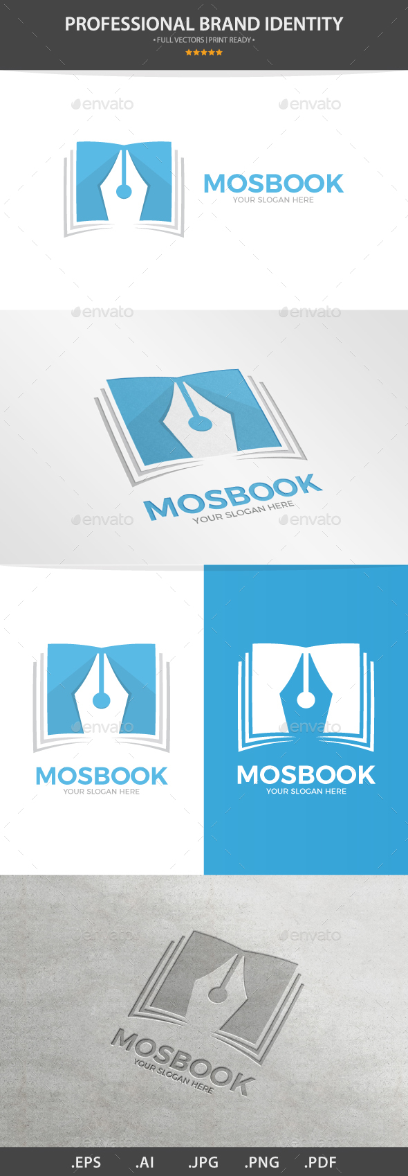 Vector Logo Combination Of a Book And Pen