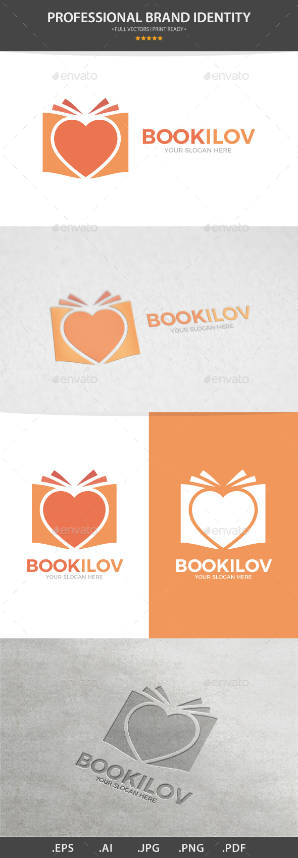 Vector Logo Combination Of a Heart And Book