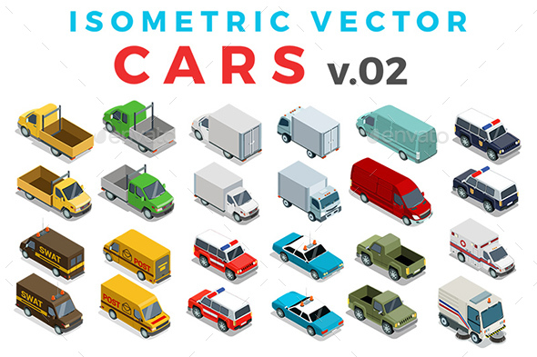 Vector Cars Set Isometric Flat Style v.2
