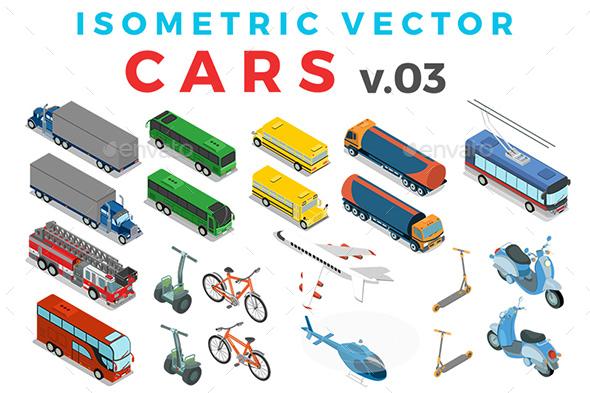 Vector Cars Set Isometric Flat Style v.3