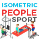 Vector Sport People Set Isometric Flat Style