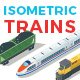 Vector Trains Set Isometric Flat Style
