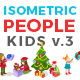 Christmas Isometric Flat Vector People Kids