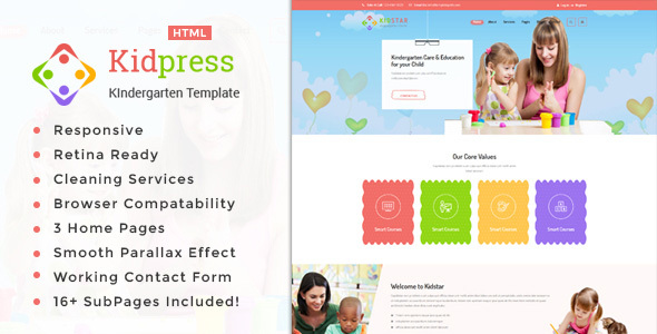 Download Kidpress- Kindergarten & School HTML Template
