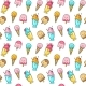 Vector Seamless Summer Pattern with Ice Cream
