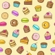 Kawaii Seamless Background of Sweet and Dessert