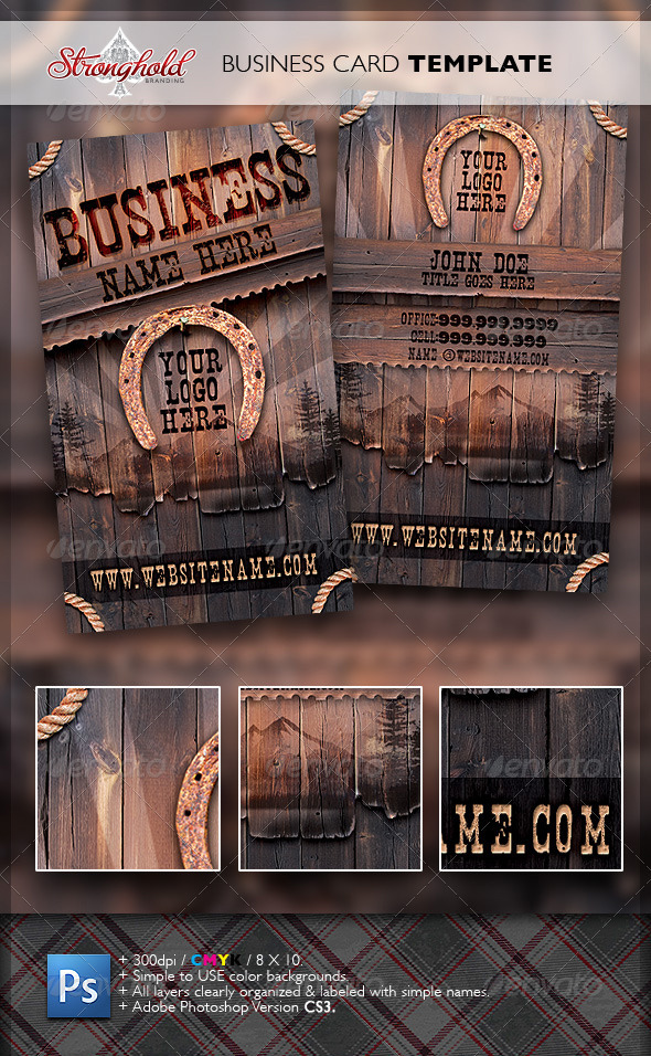 GraphicRiver Vintage Western Wood Card Template 1939421