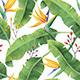 Watercolor Banana Leaves Pattern