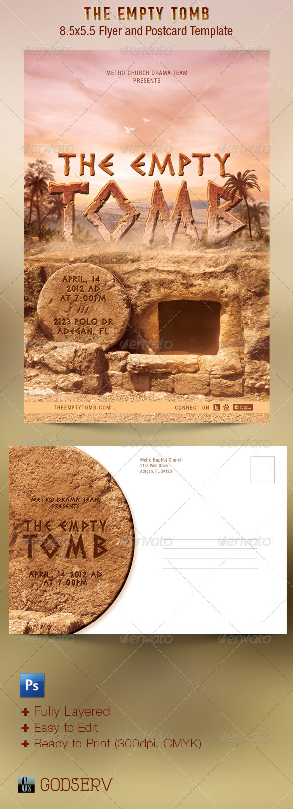 The Empty Tomb Church Flyer and Postcard Template - Church Flyers