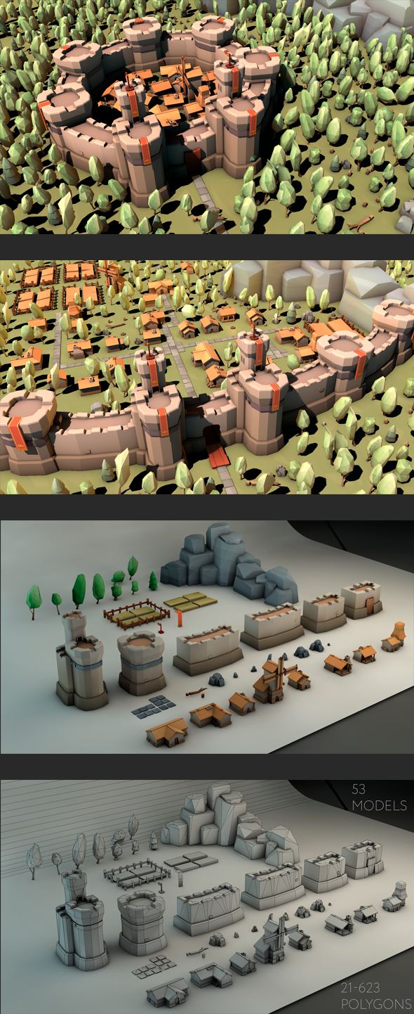 3DOcean Low Poly Medieval Constructor 19968183