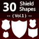 30 Shields Photoshop Vector Custom Shapes