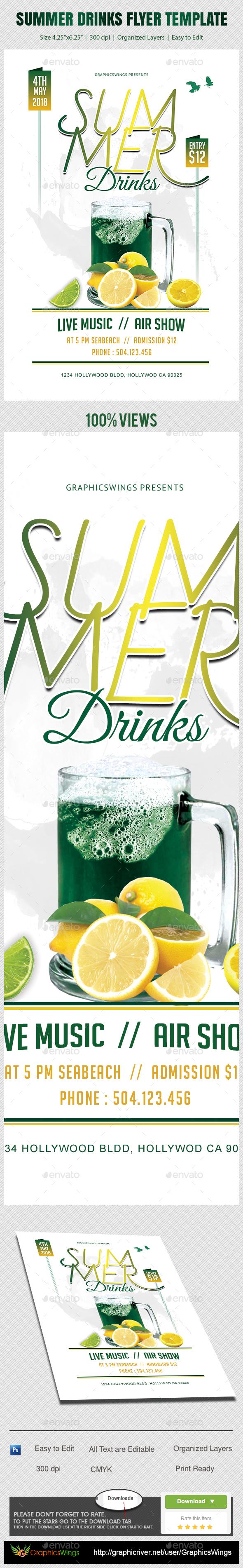 Summer Drinks Flyer Template