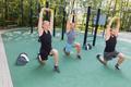 Athletic men stretching
