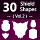 30 Shields Photoshop Vector Custom Shapes ( Vol.2 )
