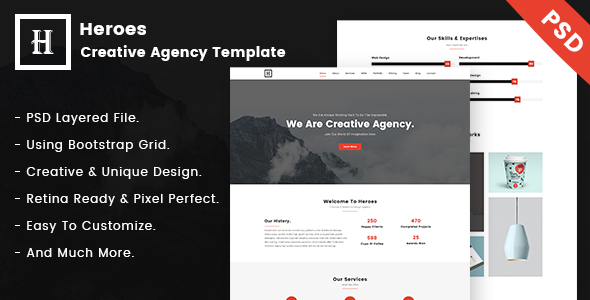Heroes | Creative One-Page PSD Template.