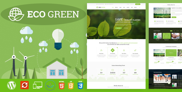 Eco Green – WordPress Theme for  Atmosphere, Ecology and Renewable Power Firm (Environmental)