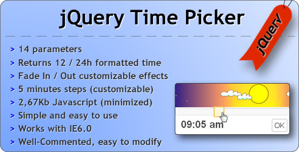 jQuery Time Picker - CodeCanyon Item for Sale