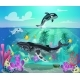 Cartoon Colorful Sea Life Background