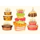 Collection of Vector Cartoon Birthday Cakes