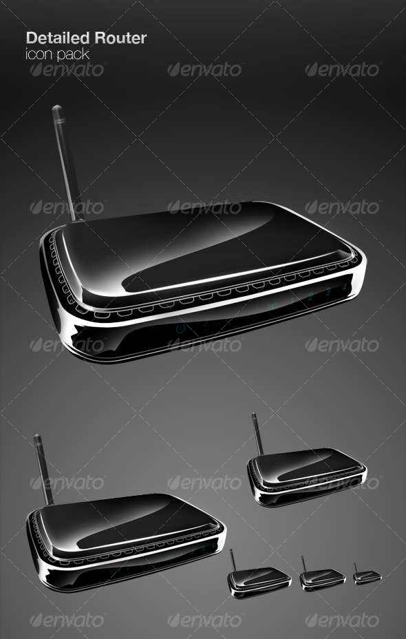 GraphicRiver Detailed Router icon pack 75396