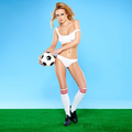 Beautiful sexy blond soccer player