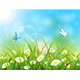 Blue Nature Background with Sun and Butterflies