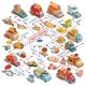Vector Isometric Cars Fast Delivery of Food