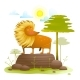 Lion Animal Cartoon in Wild Nature with Trees Lawn