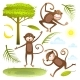 Funny Monkeys Friends with Tree Leaves Sun Clouds
