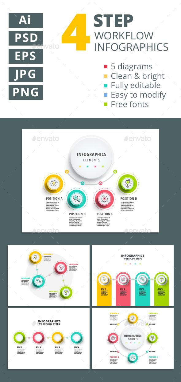4 step workflow infographics elements