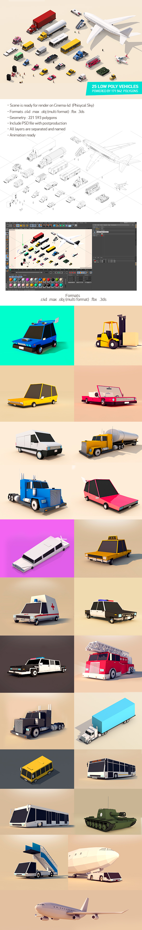 Low Poly City Cars Vehicles Pack - 3DOcean Item for Sale