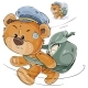 Vector Illustration of a Brown Teddy Bear Postman