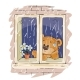 Brown Teddy Bear Looks Out Raining Window