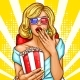 Pop Art Excited Blond Woman Sitting in Auditorium