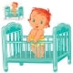 Illustration of Baby in His Cot