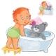 Baby Bathes His Teddy