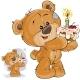 Brown Teddy Bear Holding Cake