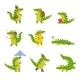 Cartoon Crocodile in Every Day Activities