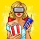 Pop Art Woman Watching Movie with Virtual Glasses