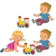 Girl and Boy Playing with a Steam Locomotive